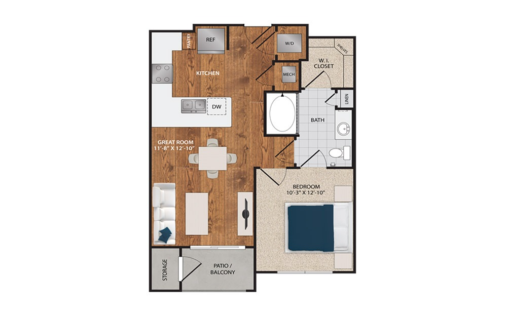 A1 - 1 bedroom floorplan layout with 1 bath and 640 square feet.