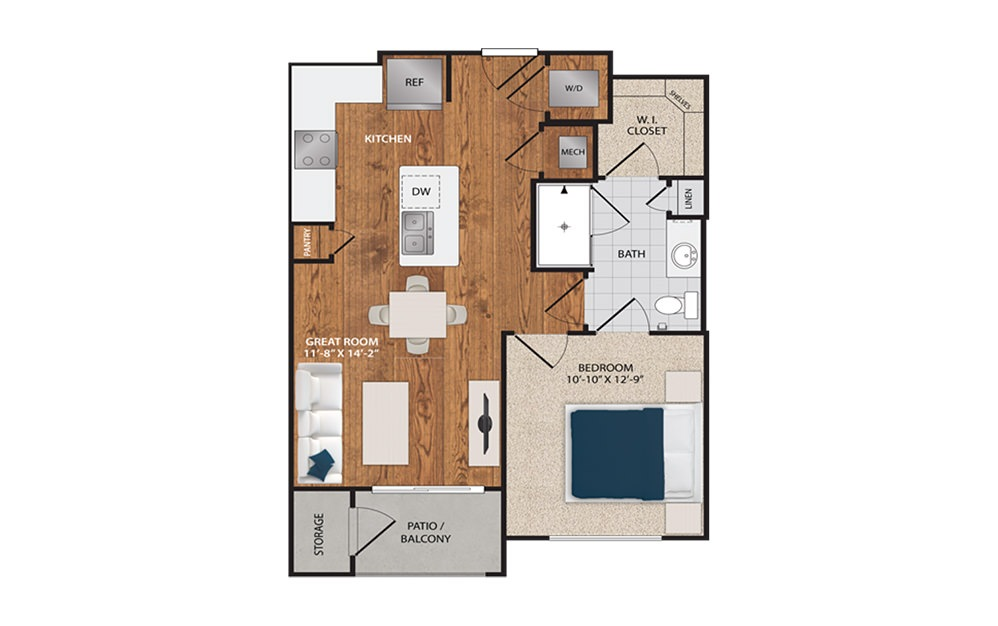 A1S - 1 bedroom floorplan layout with 1 bath and 640 square feet.