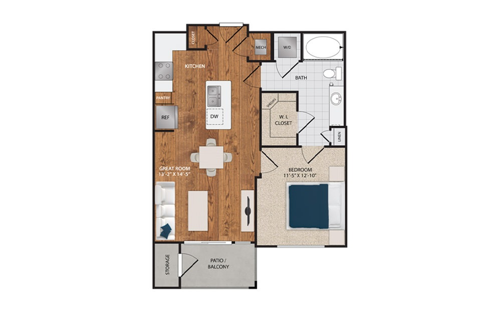 A2 - 1 bedroom floorplan layout with 1 bath and 683 square feet.