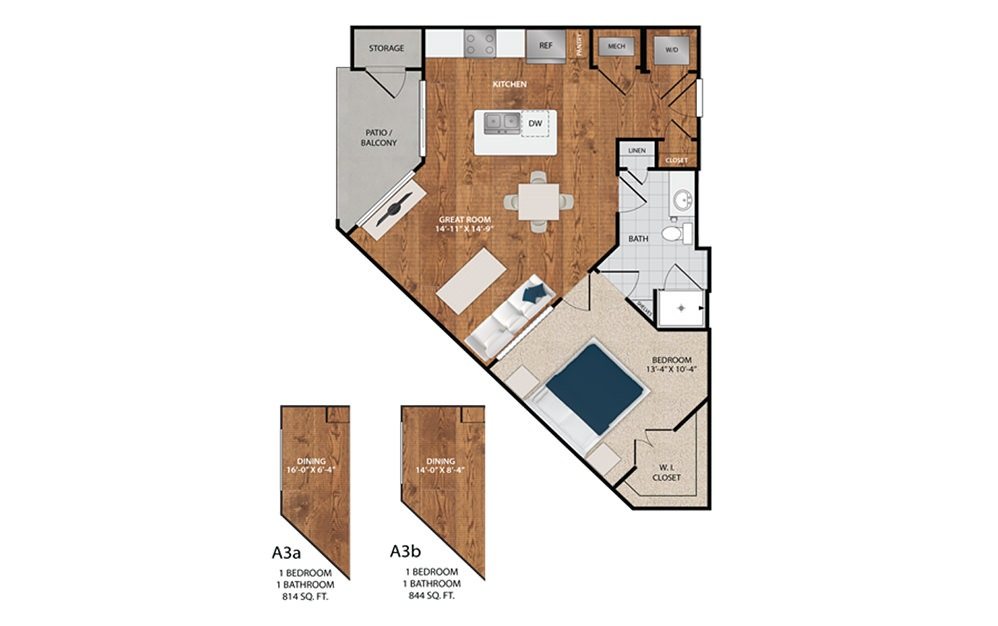 A3 - 1 bedroom floorplan layout with 1 bath and 725 to 844 square feet.