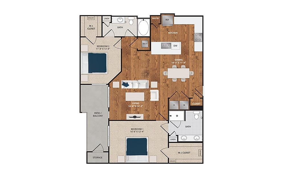 C4 - 2 bedroom floorplan layout with 2 baths and 1276 square feet.