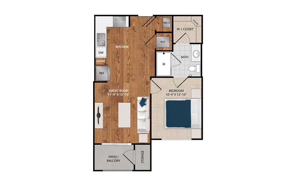 STUDIO - Studio floorplan layout with 1 bath and 580 square feet.